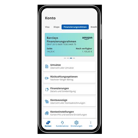 Übersicht Barclays App